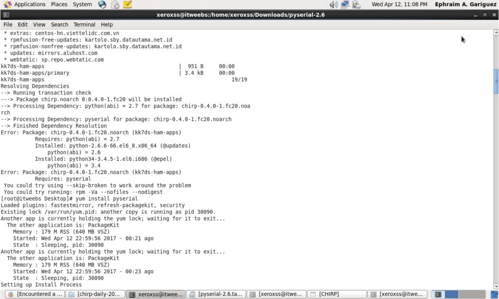 Installing Chirp on CentOS 6 9 Linux | DW1ZWS | Panda Antenna