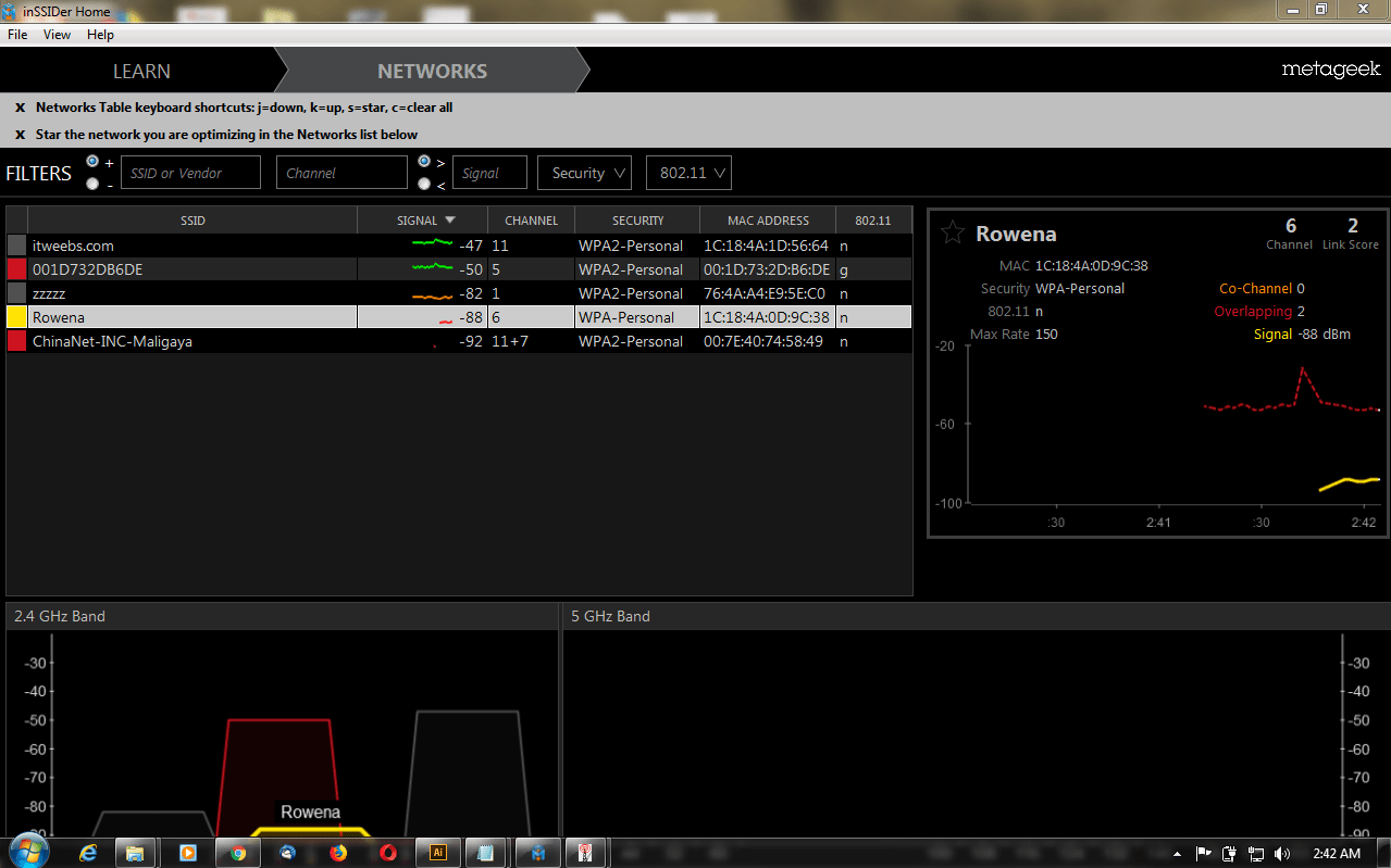 Screen shot dBm measurement taken from a dipole