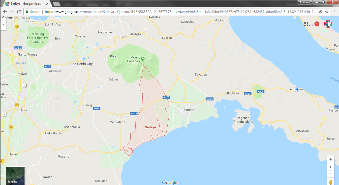 Google Map highlighting Sariaya Quezon