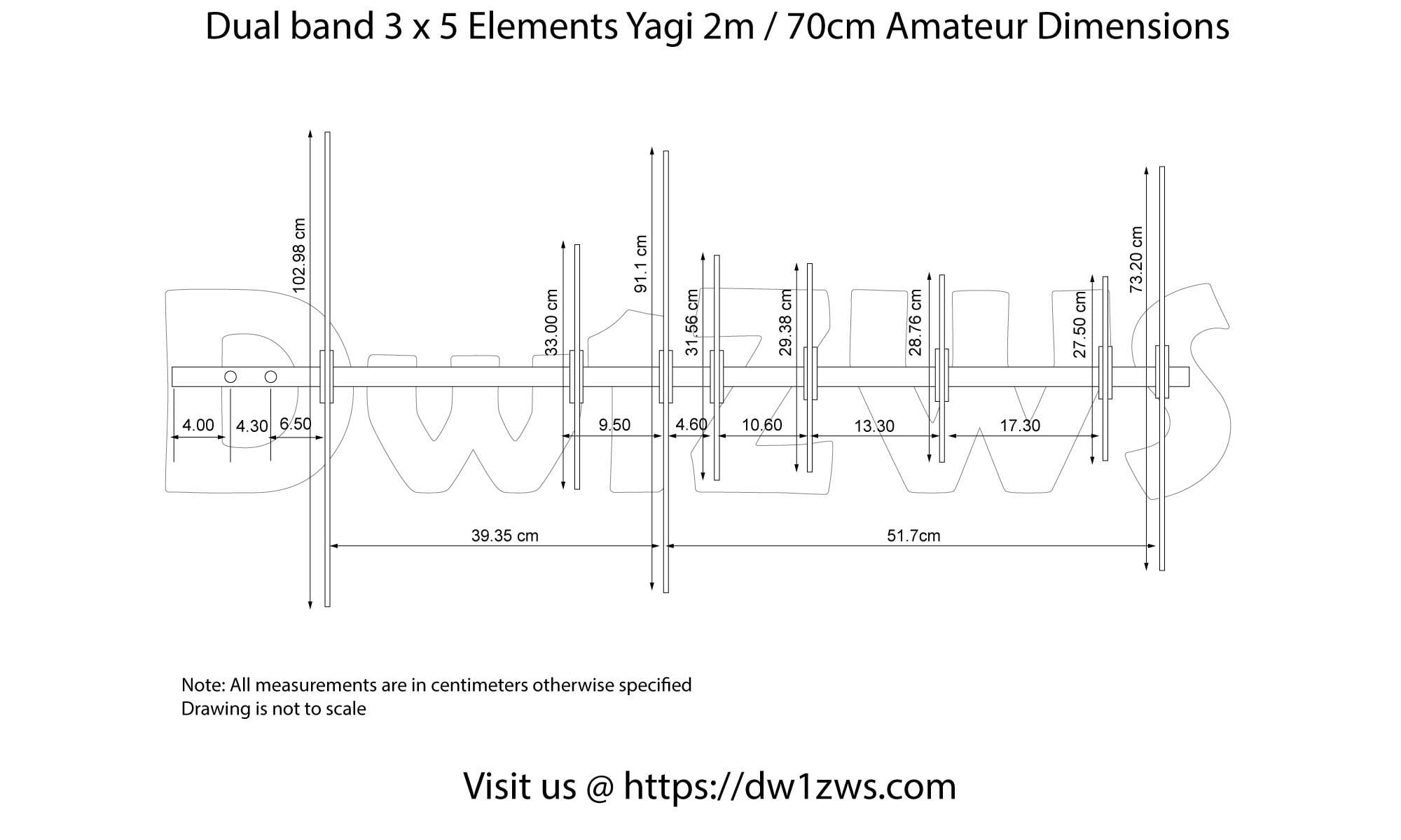 3x5 2m/60cm dualband yagi