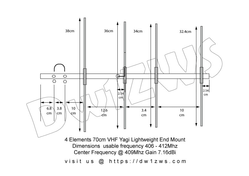 4 Elements Yagi 70cm 409Mhz dimensions