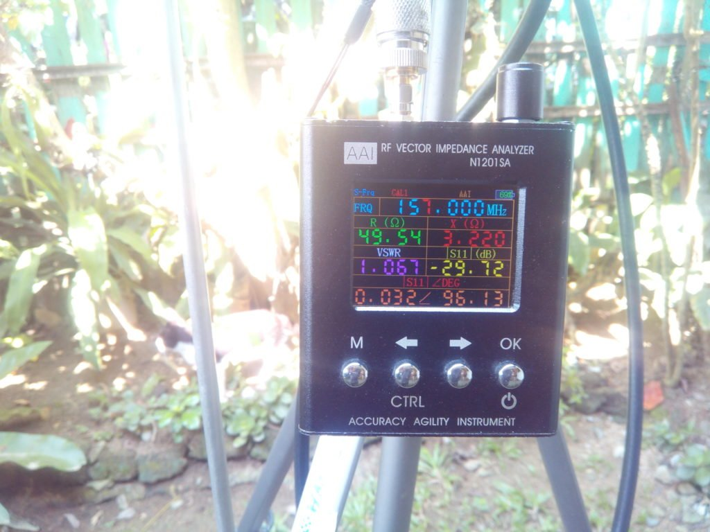 Antenna SWR at center frequency 157.000 Mhz
