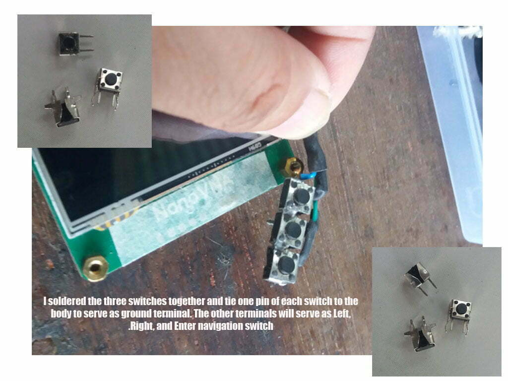 Solder the 3 switches together